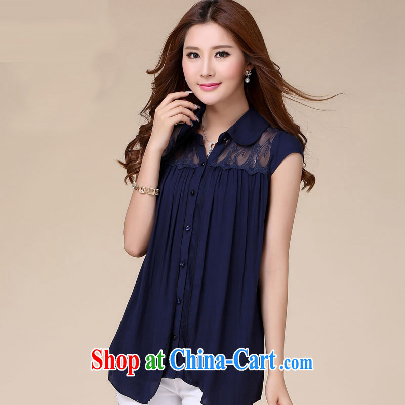 Health concerns women * 2015 new summer, short-sleeved snow woven shirts female lace T-shirt Han version the code loose video thin T-shirt girl shirt dark blue 3XL (151 - 160 ) jack chest is 106