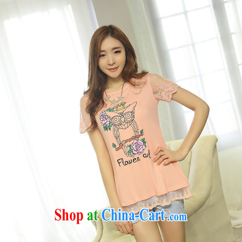 For health concerns women * 2015 new spring and summer ground 100 ultra-looking owl short-sleeved cultivating T shirt gray 3 XL