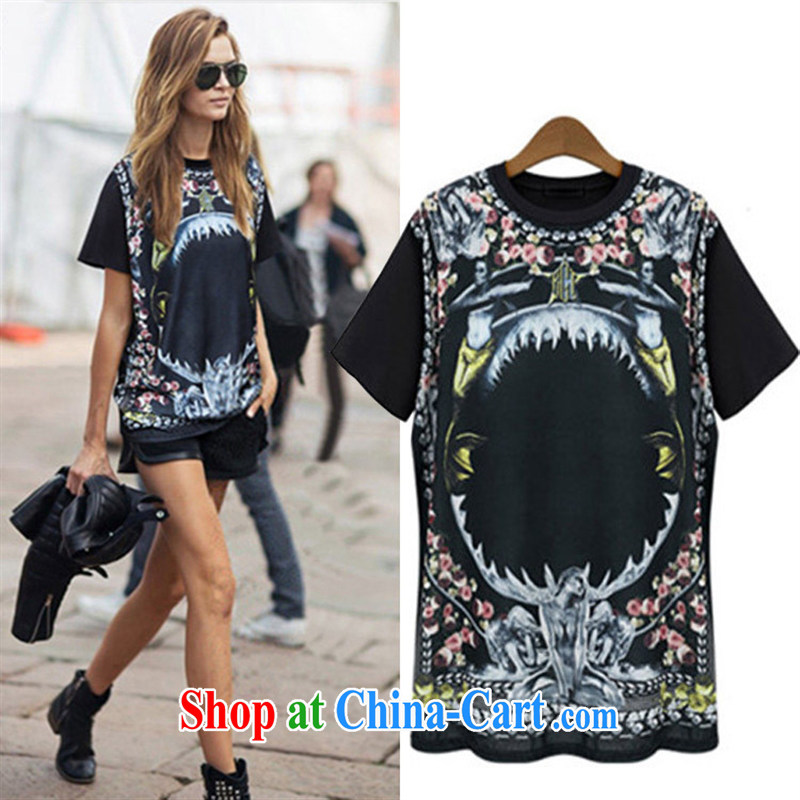 For health concerns women _ The European site female 2015 summer new, modern Europe and loose the code load, long, short-sleeved shirt T JR 1317 black M