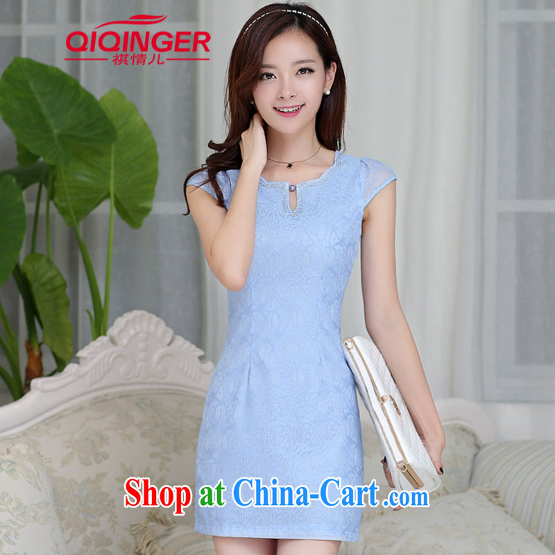 Sincerely, child care 2015 summer new women who decorated graphics thin aura short-sleeved dresses girl package and robes further skirt blue 2 XL