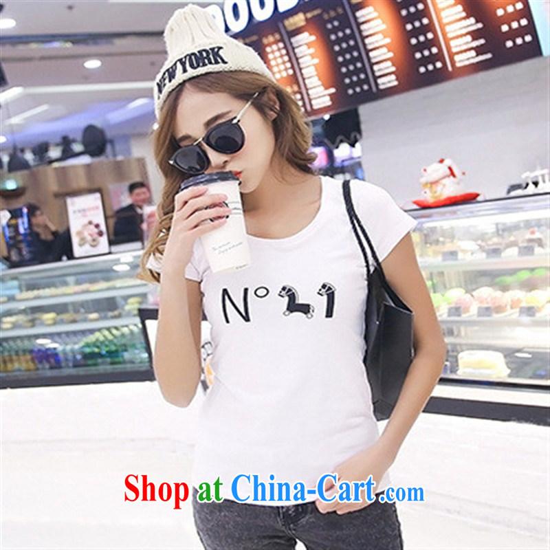 Rachel Deloitte Touche Tohmatsu Deloitte Touche Tohmatsu store sunny store 2015 spring new Korean version popular female stamp duty cultivating short-sleeved T pension white L