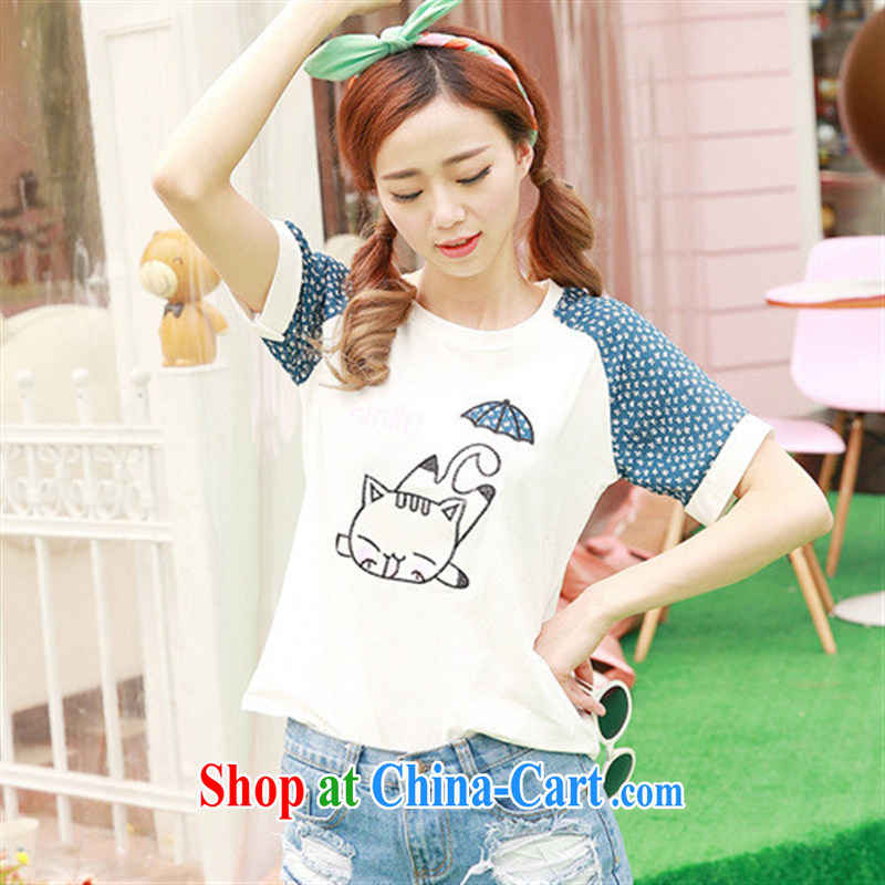 Rachel Deloitte Touche Tohmatsu Deloitte Touche Tohmatsu store sunny store 2015 spring new Korean popular female stamp short sleeve shirt T blue are code
