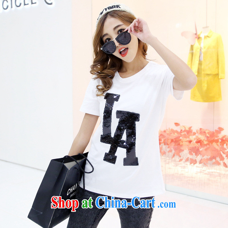 Rachel Deloitte Touche Tohmatsu Deloitte Touche Tohmatsu store sunny store 2015 spring new women explosion in Europe and America, Netherlands solid letter graphics thin short-sleeved T shirt white L