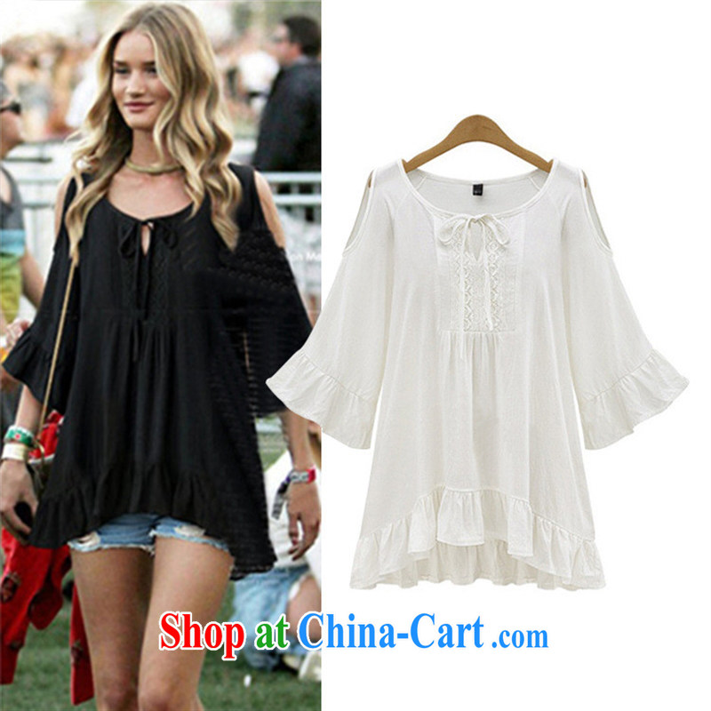 Health concerns women in Europe and America * van 2015 summer new thick MM graphics thin aura 100 ground bare shoulders flouncing cuff in dresses JR 8107 black 5 XL