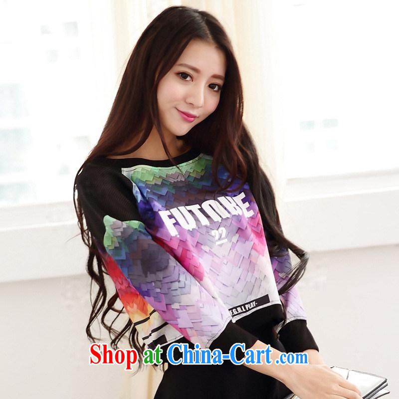 Rachel Deloitte Touche Tohmatsu Deloitte Touche Tohmatsu store sunny store 2015 spring new Korean female solid shirt three-dimensional stamp beauty short T shirt picture color XL