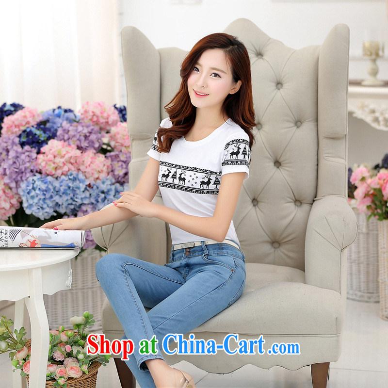 Rachel Deloitte Touche Tohmatsu Deloitte Touche Tohmatsu store sunny store 2015 spring and summer new female Korean explosive stylish beauty round-collar short-sleeve T-shirt white XL