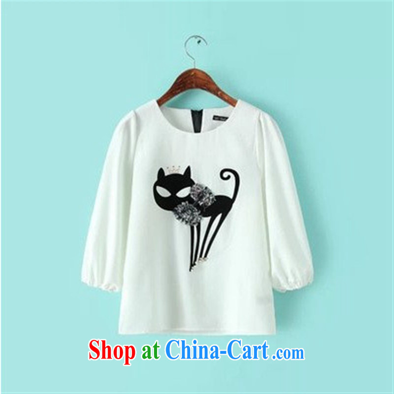 Rachel Deloitte Touche Tohmatsu Deloitte Touche Tohmatsu store sunny store 2015 spring new female Korean version with solid shirt stylish 100 ground T shirt white L