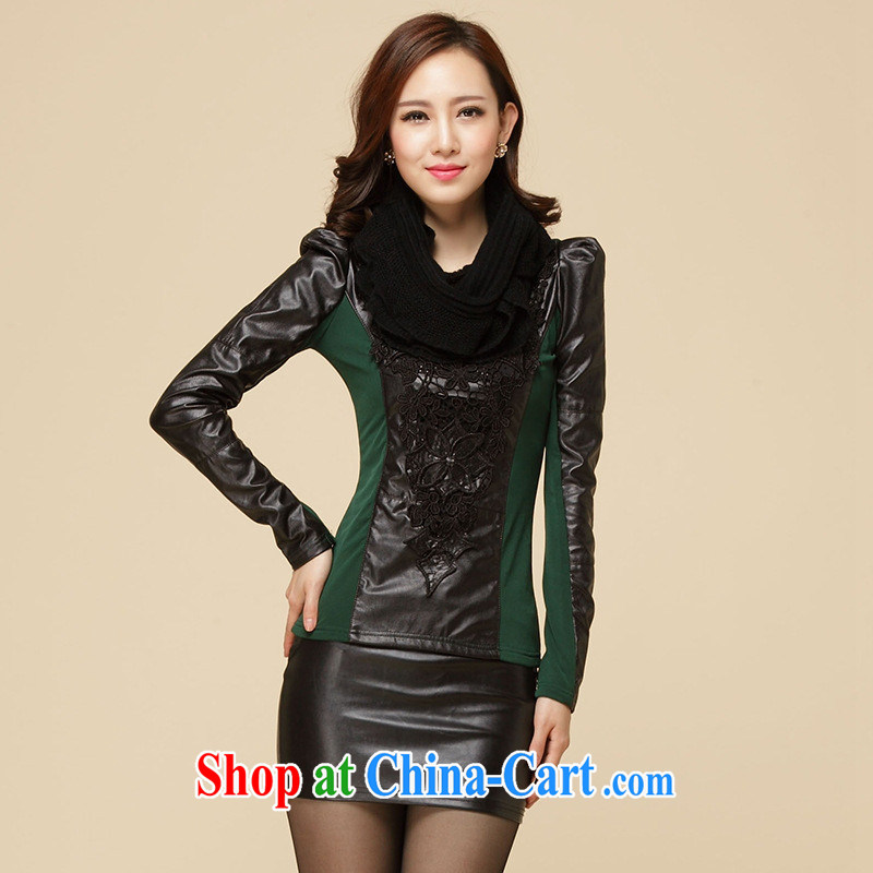 Rachel Deloitte Touche Tohmatsu Deloitte Touche Tohmatsu store sunny store 2015 spring new Korean Beauty larger female and lint-free cloth thick web yarn T shirts solid shirt green XXL