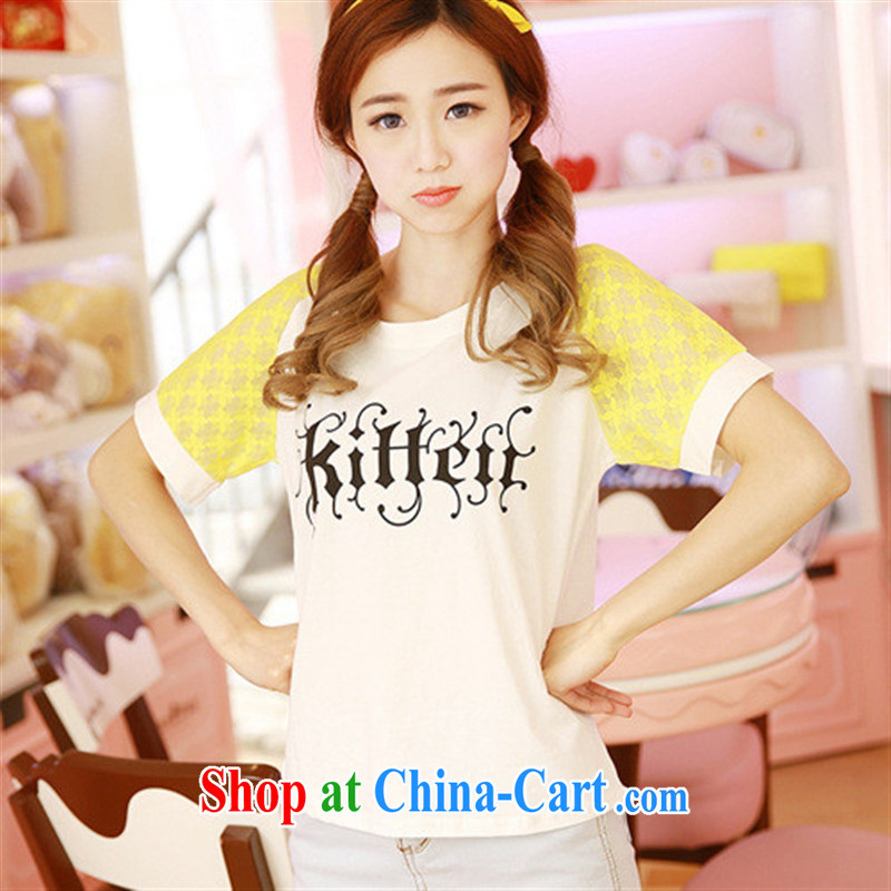 Rachel Deloitte Touche Tohmatsu Deloitte Touche Tohmatsu store sunny store 2015 spring new Korean popular female short-sleeved loose stamp T shirts yellow are code