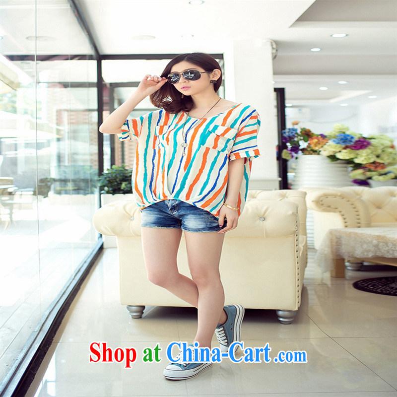 Rachel Deloitte Touche Tohmatsu Deloitte Touche Tohmatsu store sunny store 2015 summer new Korean female striped round-collar loose short-sleeve T shirt orange 3 XL
