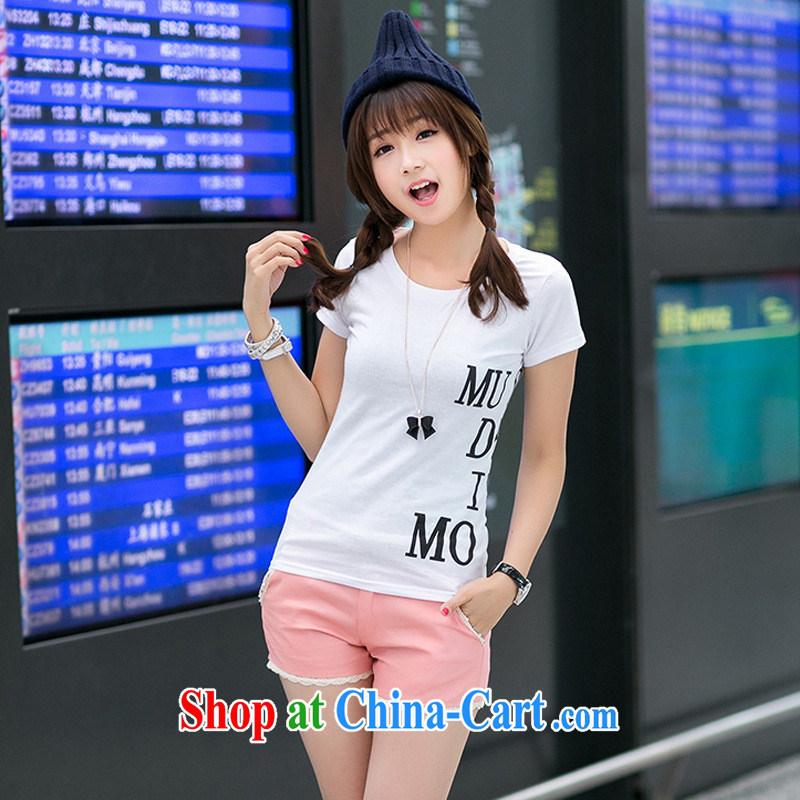 Rachel Deloitte Touche Tohmatsu Deloitte Touche Tohmatsu store sunny store 2015 spring new Korean female burglary, cultivating 100 ground round-collar short-sleeve shirt T white XXL