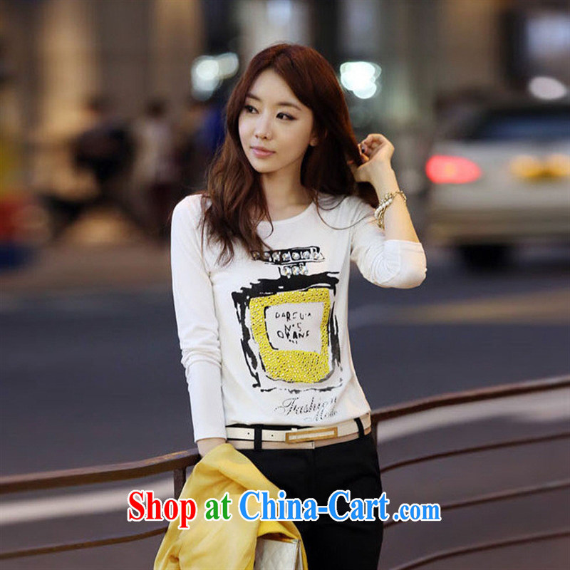 Rachel Deloitte Touche Tohmatsu Deloitte Touche Tohmatsu store sunny store 2015 spring new Korean female burglary, solid T-shirt stylish long-sleeved beauty stamp T shirt white L