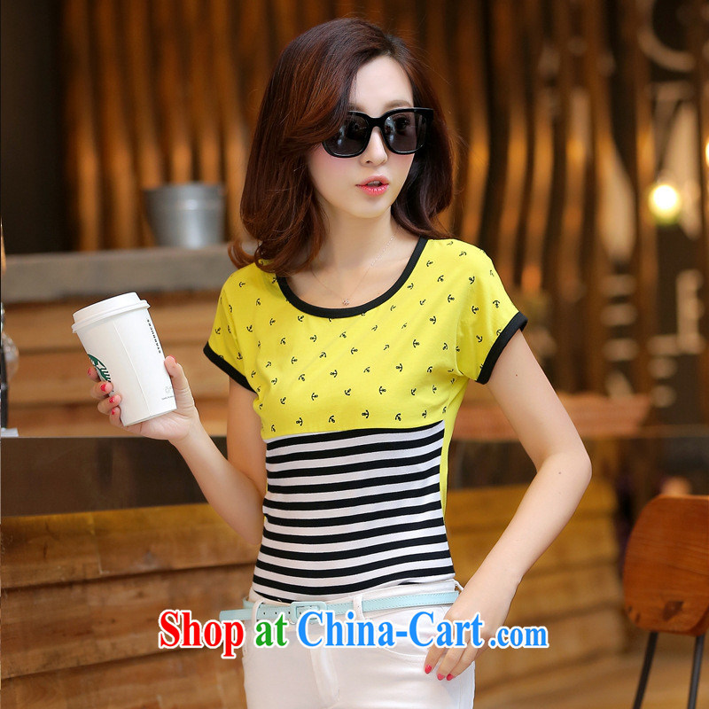 Rachel Deloitte Touche Tohmatsu Deloitte Touche Tohmatsu store sunny store 2015 spring new Korean female spell-colored short-sleeved round-collar cultivating streaks T shirt bright yellow XL