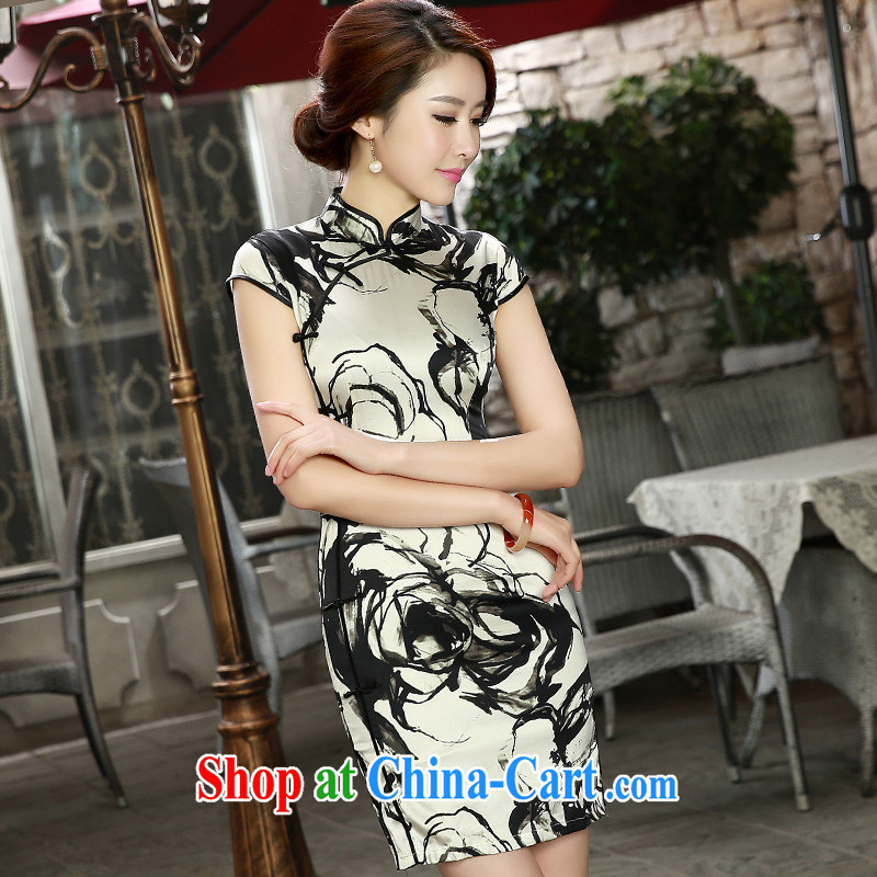 The Yee-sa, the short spring and summer 2015 new retro sauna Silk Cheongsam double heavy Silk Cheongsam beauty SZ S 8808 white XL