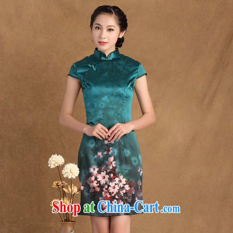 The Yee-sa, the Summer new heavy Silk Cheongsam dress retro daily improved Silk Cheongsam dress dress SZ S 9914 green 2 XL