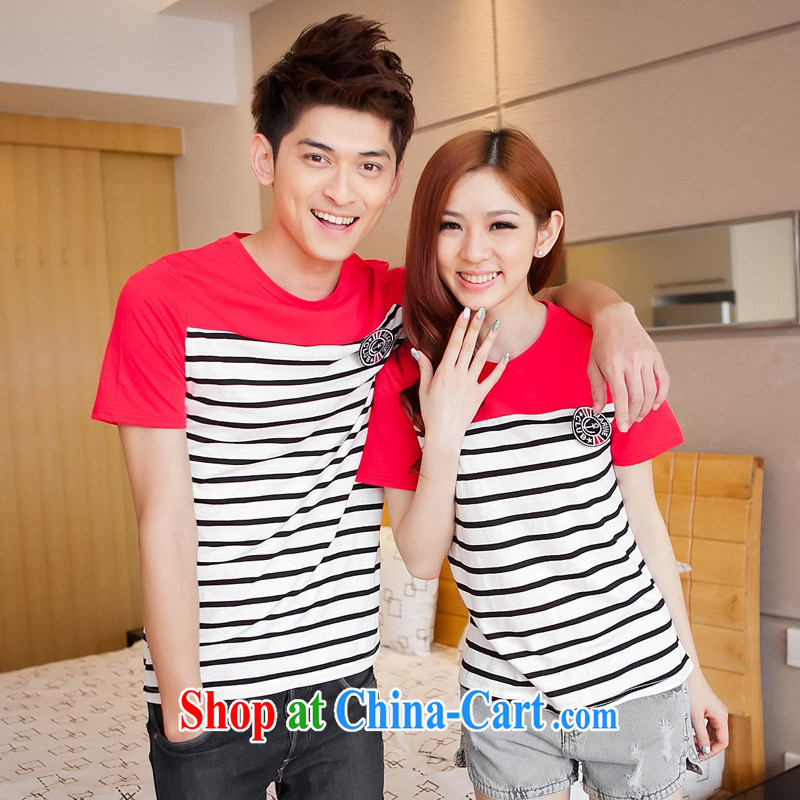 Health concerns women _ couples with 2015 summer new Korean fashion 100 ground streaks stitching short-sleeved T pension couples Replace F 2518 red male XXL