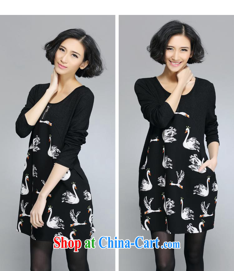 Health concerns women * Girls skirt spring new larger dresses thick mm thick sister dresses loose fat pregnant women larger F 1702 black large code L pictures, price, brand platters! Elections are good character, the national distribution, so why buy now enjoy more preferential! Health