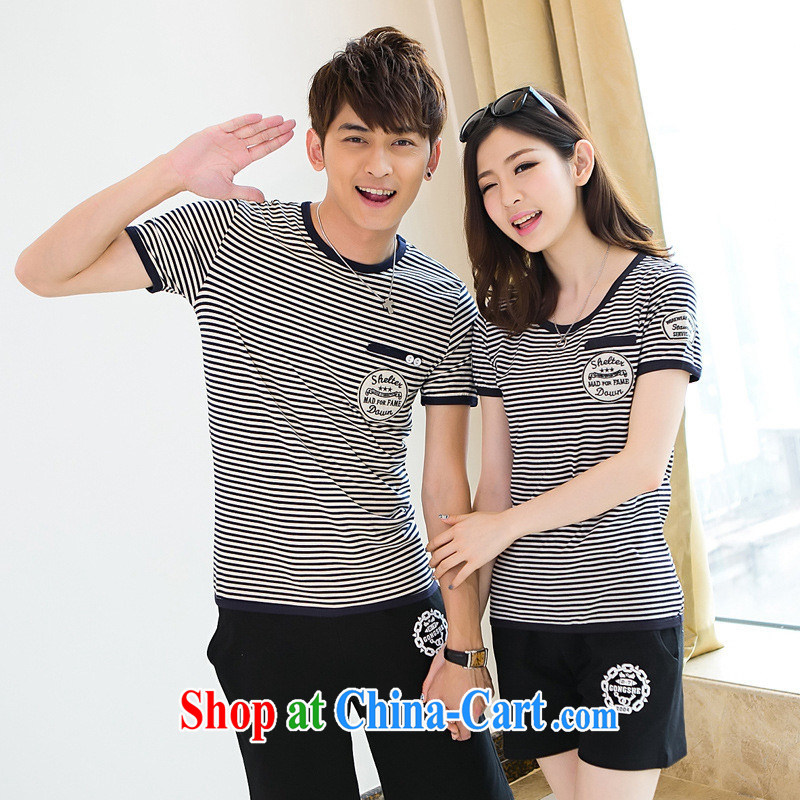 For health concerns women's clothing _ couples with 2015 men and women half sleeve for couples with striped short-sleeved T-shirt Han version cultivating the soul T-shirt Navy wind F 2530 navy blue men XXXL