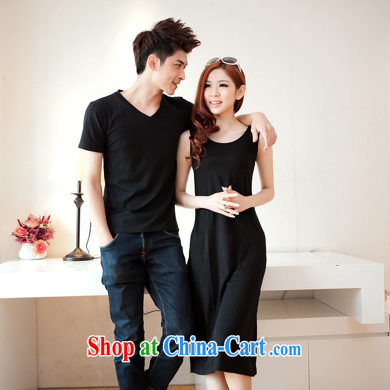 Health concerns women's clothing _ couples with 2015 men and T dresses summer black simple girl, Yi long skirt resort beach skirt F 2514 Map Color male XXL