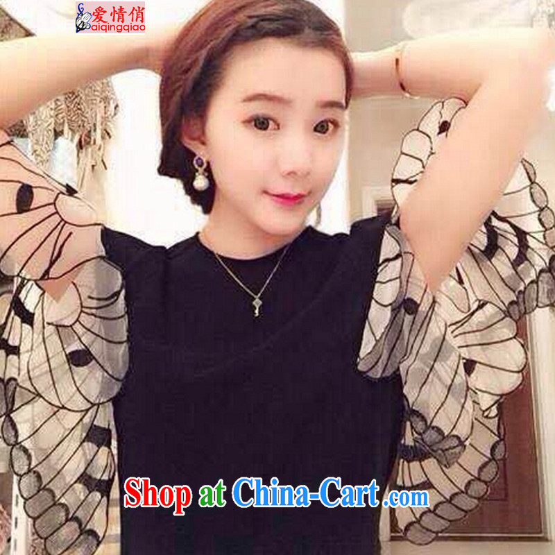 Love, 2015 new stylish casual simplicity and bowtie cuff 100 ground T-shirt 8737 black are code