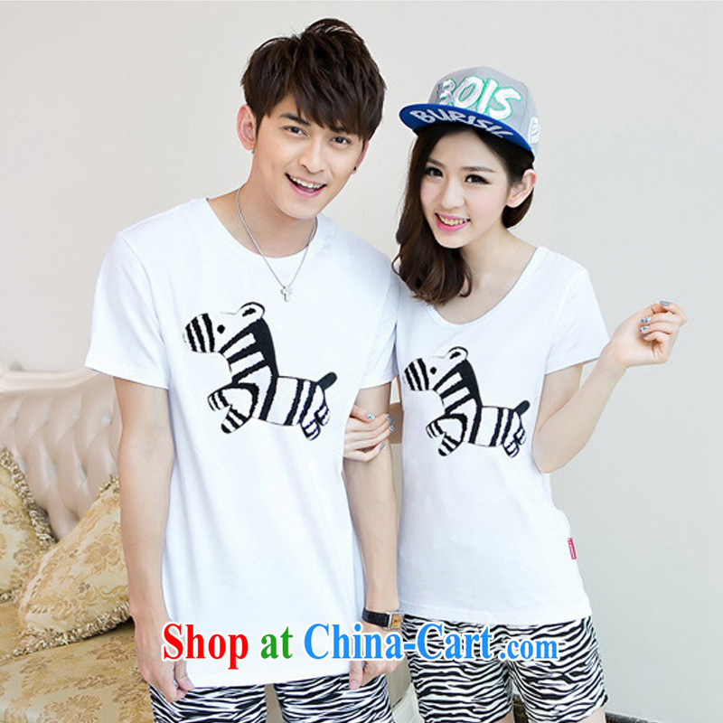 Health concerns women * couples with 2015 short-sleeved Chun, a cartoon horse T Korean fashion 100 ground round-collar short-sleeve couples Replace F 2535 white male XXL