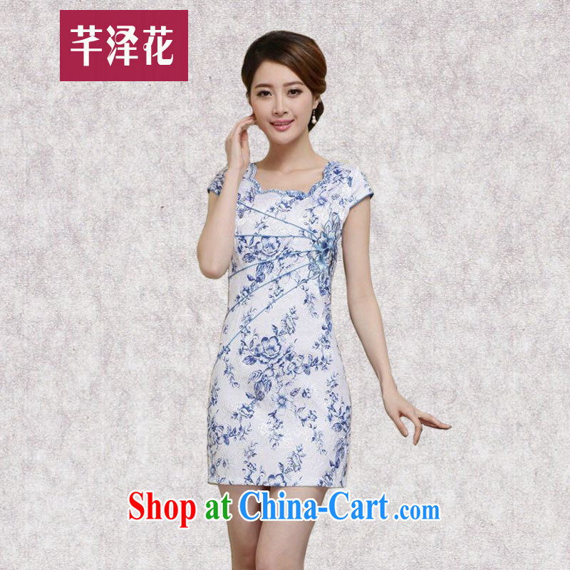Constitution, a female dresses summer 2015 new improved stylish daily short blue and white porcelain cheongsam dress beauty package and short skirts 7286 blue L