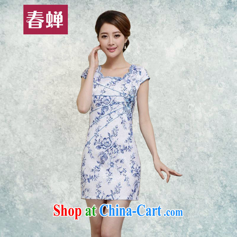 Silent Spring dresses summer 2015 new improved stylish daily short blue and white porcelain cheongsam dress beauty lady package and short skirts 7286 blue XXL