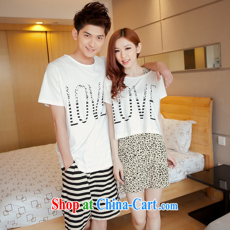 Health concerns women _ couples with 2015 summer beach Couple T-shirt short-sleeved Korean Leopard dresses couples package F 2520 Map Color male XXL