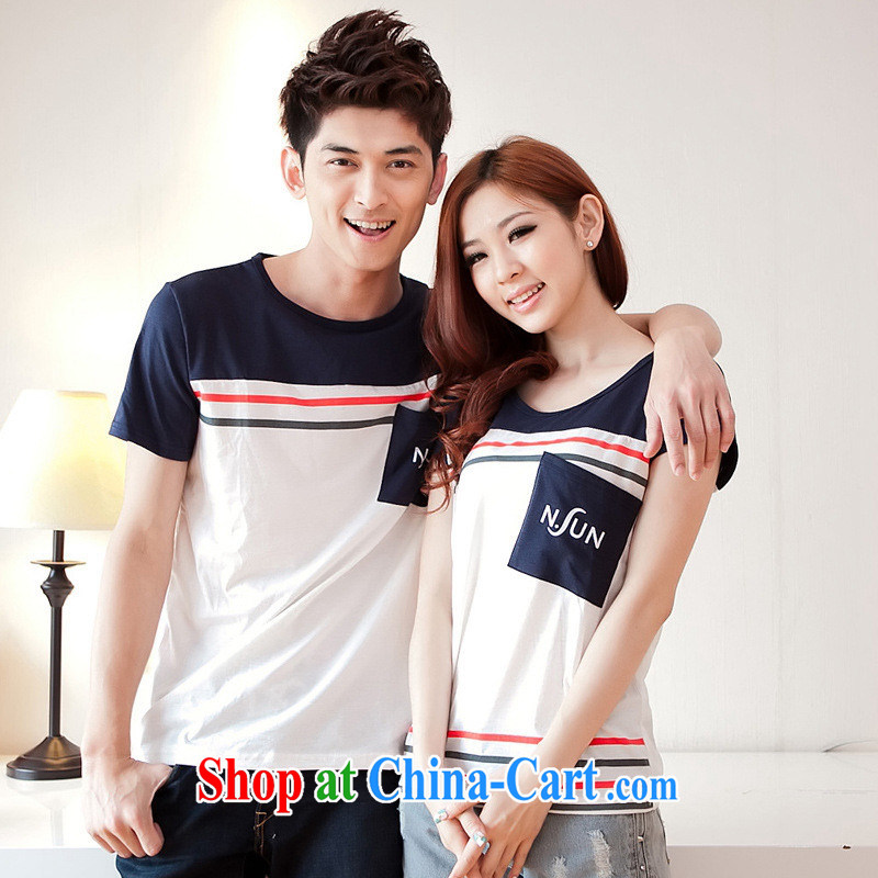 Health concerns women _ couples with 2015 new summer Korean stripes stitching large code Korea round-collar short-sleeve T shirt, serving F 2516 Map Color male XL