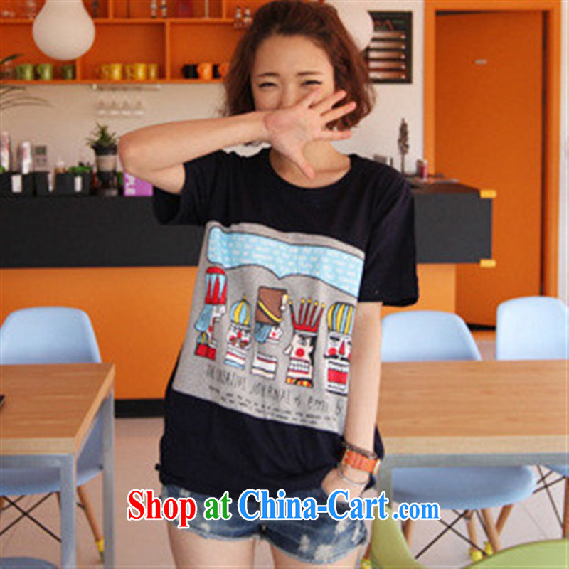 For health concerns women _ T-shirt 2015 summer new Korean version relaxed round-neck collar card long, large, cute short-sleeved shirt T F 2604 dark blue L