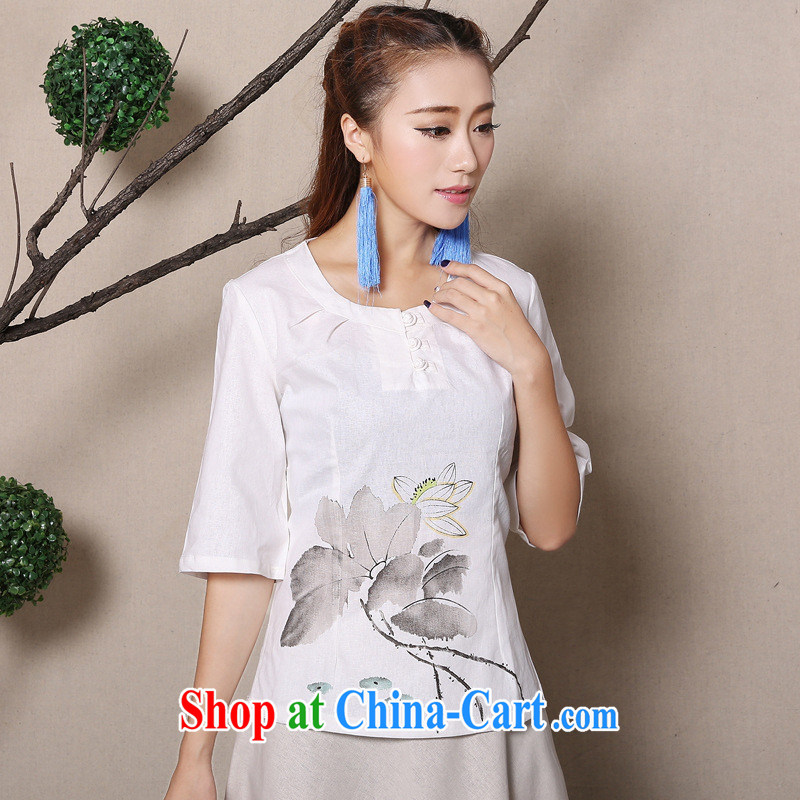 Health concerns women * National 2015 cotton Ma hand-painted antique arts improved Chinese T-shirt cotton the Zen lounge Ma T-shirt F 2584 white XL