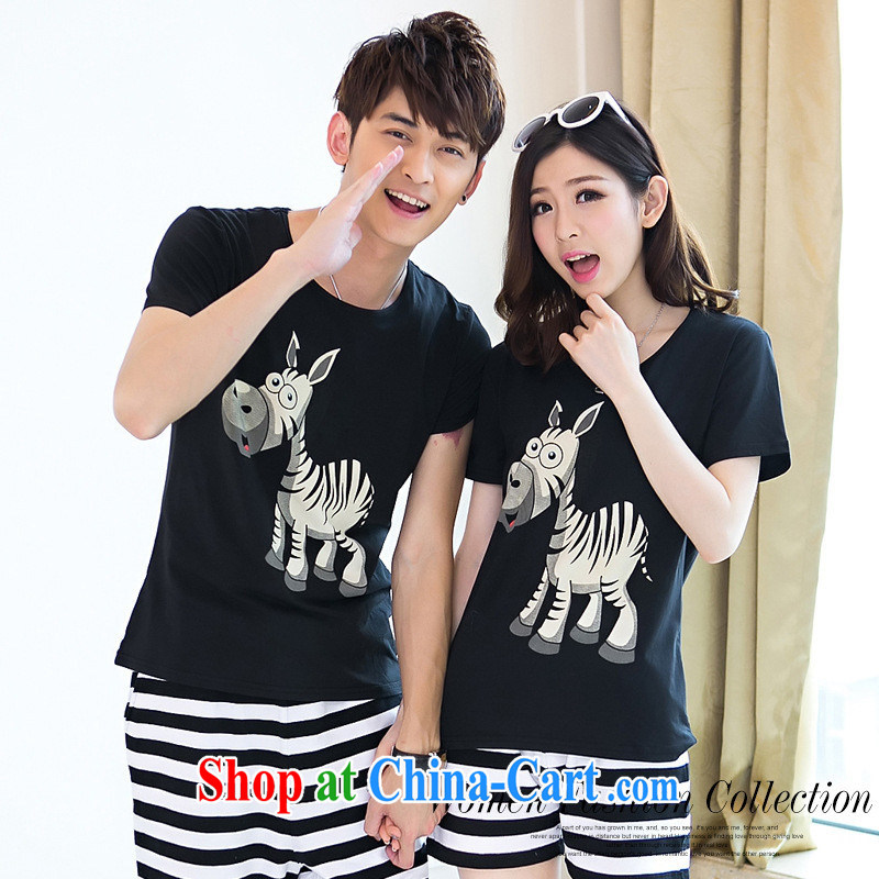 Health concerns women * couples with 2015 short-sleeved style trends summer couples with ponies trends and stylish short-sleeve shirt T F 2532 black male XXL