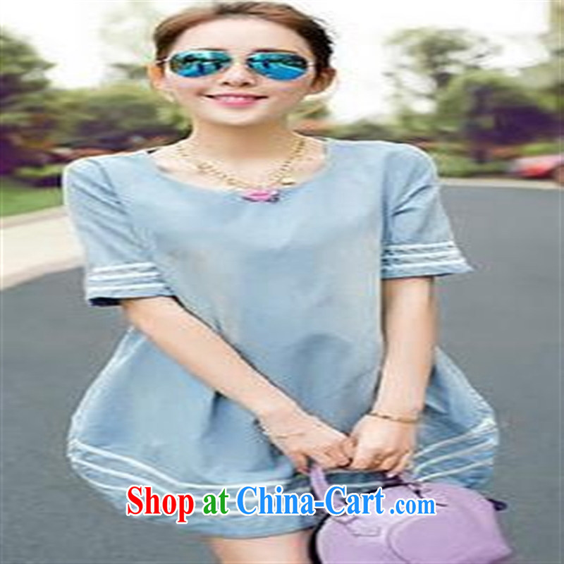 Health concerns women pregnant women with 2015 new women Spring Summer maternity dress loose the Code Trend denim fashion mother blue large code L