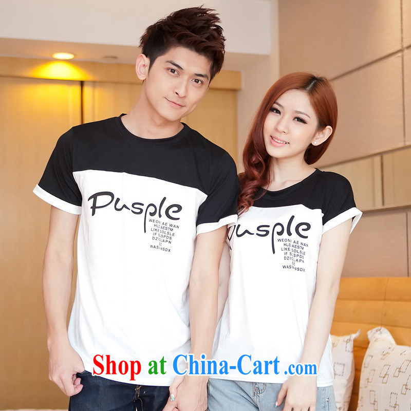 Health concerns women * couples with 2015 short-sleeve 100a new Korean black-and-white stitching letters with cultivating couples T pension F 2517 Map Color male XXL
