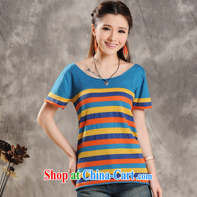 Health concerns women _ National 2015 spring and summer new arts wind streaks knitted breathable short-sleeved T loose the code t-shirt girl F 2509 figure color code