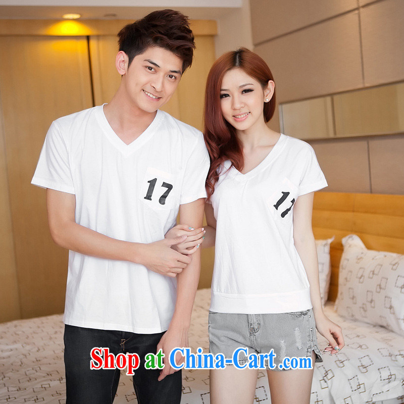 Health concerns women _ couples with 2015 summer edition Korea Sport and leisure short-sleeved T-shirt V collar bat sleeves cotton shirt T Class Service F 2519 white male XXL