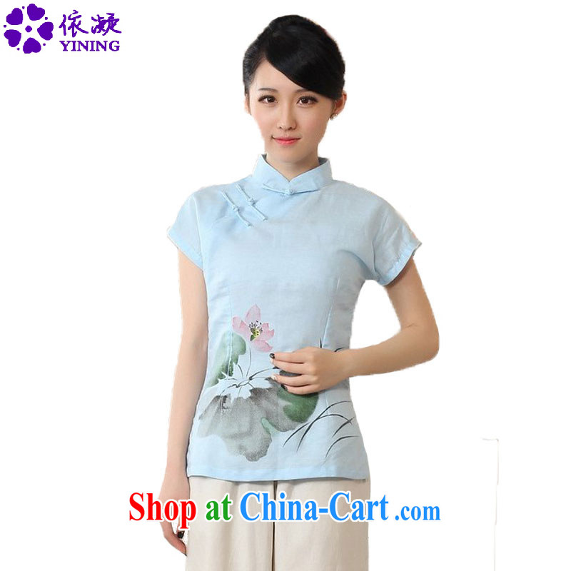According to fuser stylish new Ethnic Wind improved Chinese blouses hand-painted cultivating Chinese short-sleeved shirt LGD_A 0079 _ -A sky 2 XL