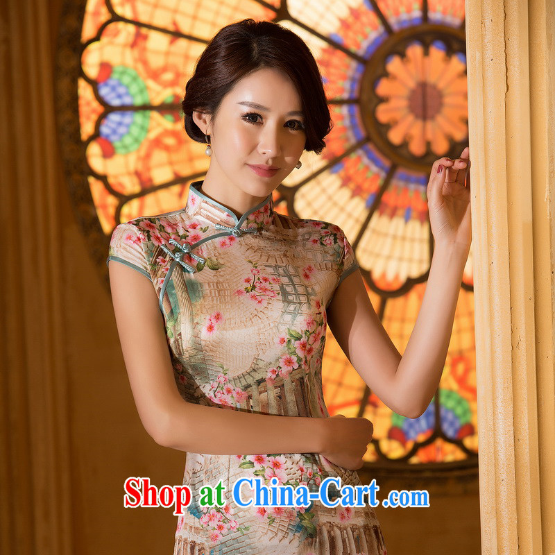 The Yee-sa 1000 a new summer short-sleeve and collar retro Ethnic Wind Chinese qipao dress daily improved cheongsam summer female ZA 061 2 XL