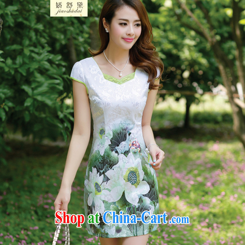 Air Shu Diane 2015 spring and summer New Beauty stamp elegant Chinese style cheongsam dress summer dress girls green XXXL