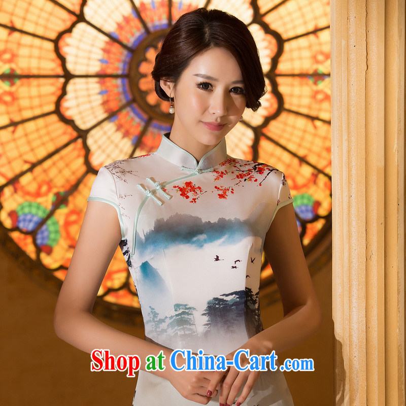 The Yee-sa-class cloud 2015 summer new ink stamp retro fashion cheongsam dress daily improved cheongsam dress female ZA 062 2 XL