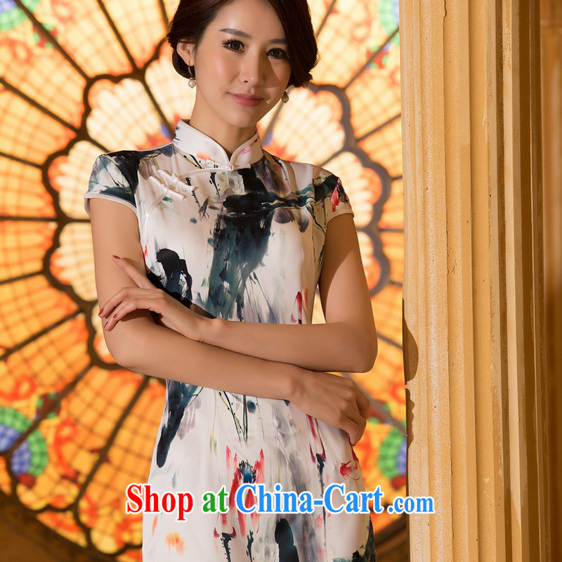 The Yee-Windsor books, summer, new cheongsam dress daily improved retro stamp cheongsam dress short cheongsam girls ZA 063 2 XL
