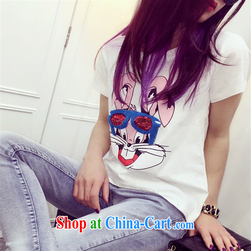 Qin Qing store the European site 2015 spring new white and bright, embroidered new stylish 100 ground short-sleeved T shirt T-shirt woman white are code, GENYARD, shopping on the Internet