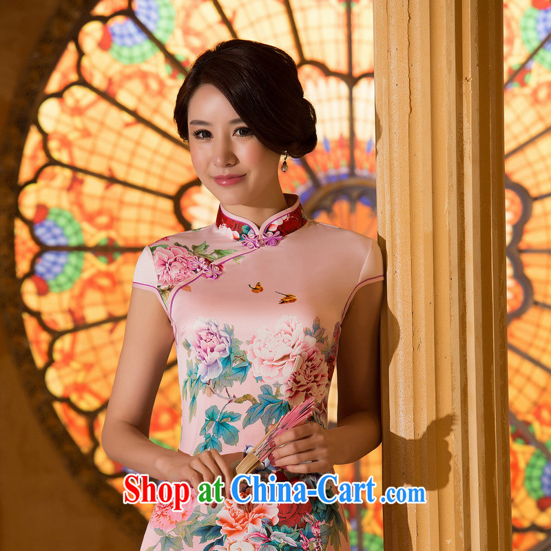 The cross-sectoral toward Windsor overnight spend the new first summer skirt outfit daily improved cheongsam dress digital stamp cheongsam ZA 064 pink 2 XL