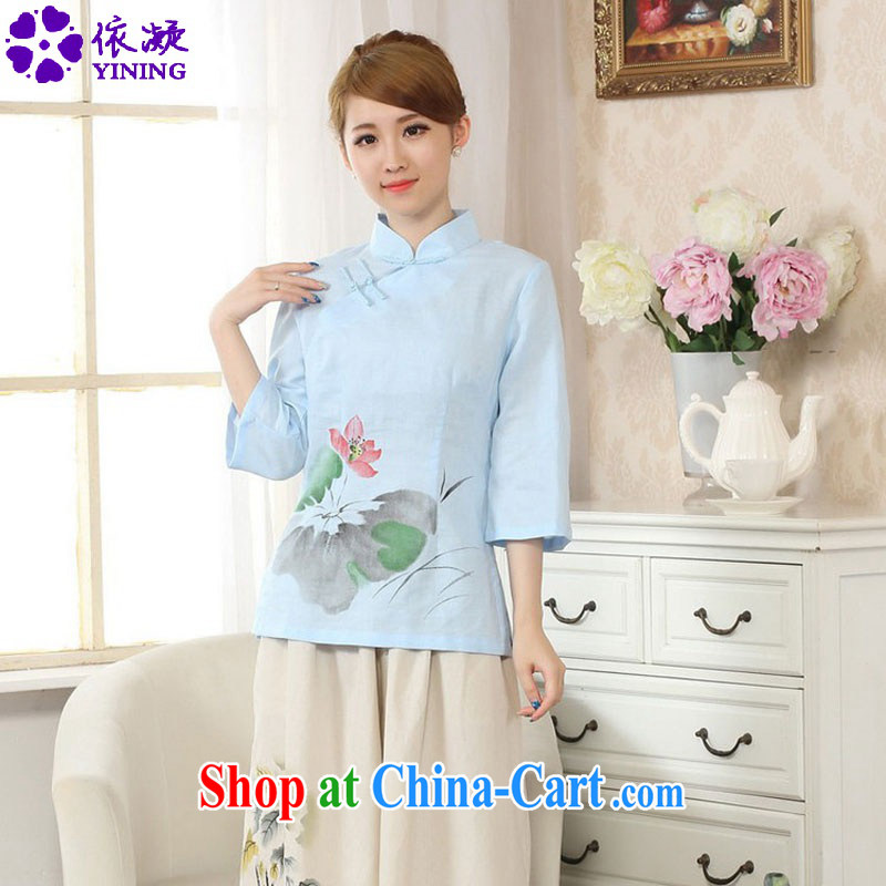 According to fuser new improved Tang with a hand-painted T-shirt outfit the commission cotton linen Chinese Ethnic Wind girls in short sleeved T-shirt with LGD/A 0078 # -A sky 2 XL