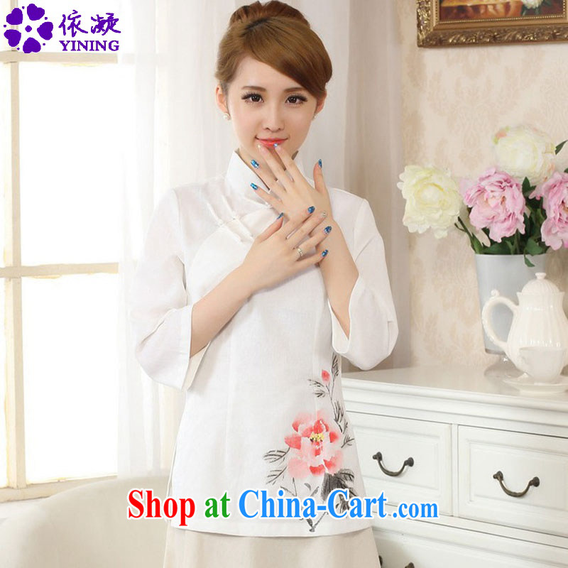 According to fuser stylish new Ethnic Wind improved Chinese blouses cotton Ma hand-painted in short sleeved T-shirt with LGD_A _0077 white 2XL