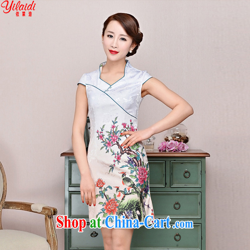 According to Tony BLAIR's 2015 summer new, silk and cotton classic jacquard sepia, for cultivating cheongsam Chinese dresses white Peony Bird XXL