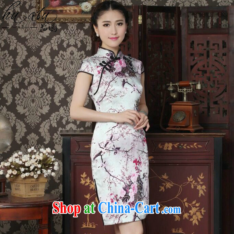 Take the silk cheongsam dress summer dress Chinese improved, sauna for silk cheongsam Magpies bad news for the cheongsam dress figure-color 2 XL