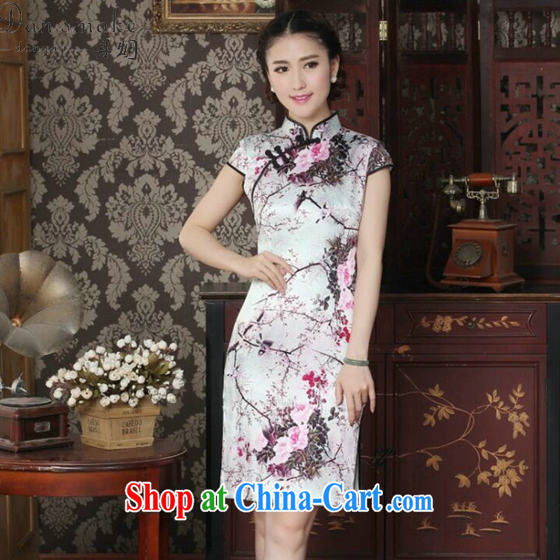 Dan smoke Silk Cheongsam dress summer dress Chinese improved, DOS SANTOS for Silk Cheongsam Magpies bad news for the cheongsam dress such as the color 2 XL