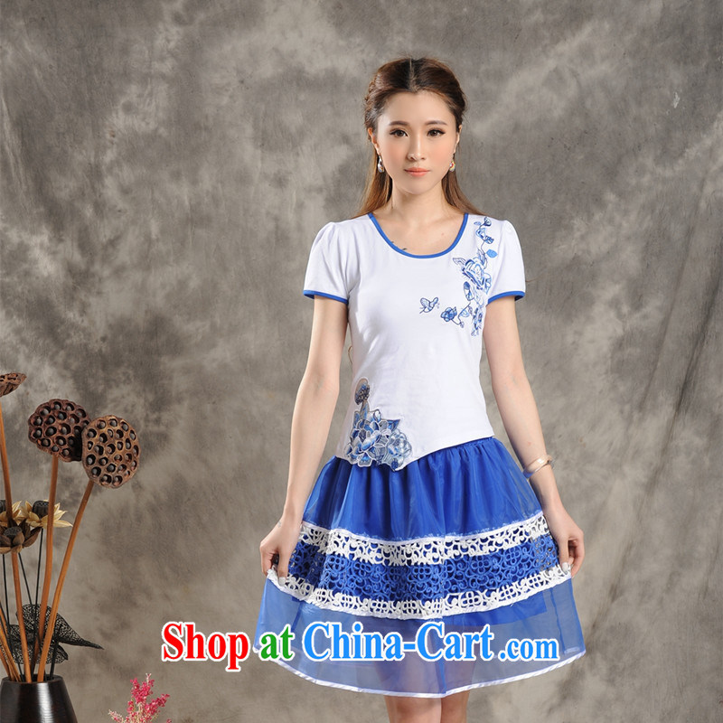Black butterfly G 2802 National wind female new blue embroidery with cultivating cotton short-sleeved T �� female white 2 XL