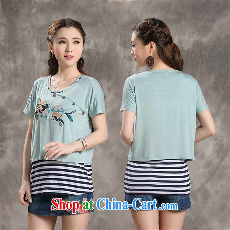 Black butterfly W 8220 National wind women spring and summer new embroidery stripes vest leave of two short-sleeved shirt T light green 2 XL